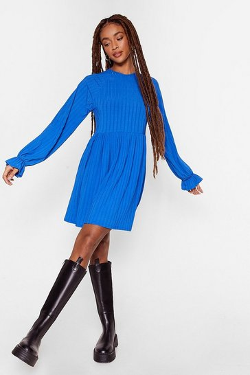 Blue Recycled Ribbed Long Sleeve Mini Dress