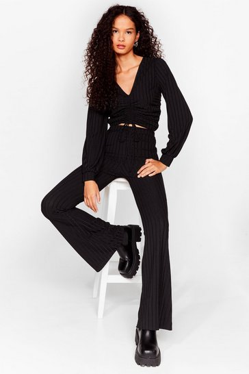 Black Flares the Party Ribbed High-Waisted Pants