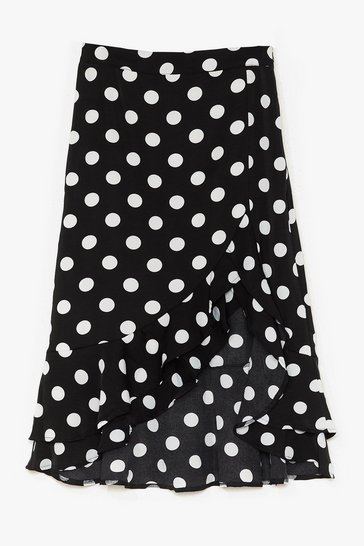 Black Girl Dot Game Ruffle Midi Skirt