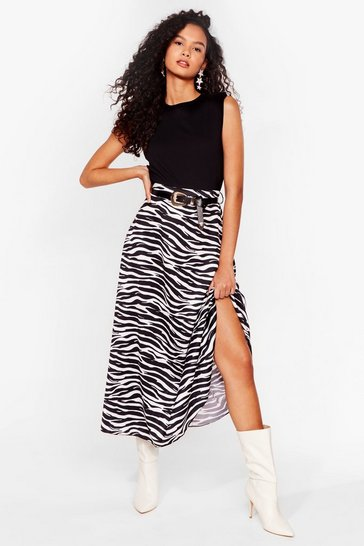 White Stripe Down to It Zebra Maxi Skirt