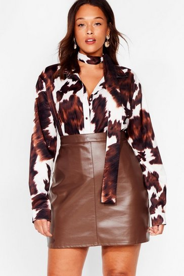 Chocolate The Hustle Plus Faux Leather Mini Skirt