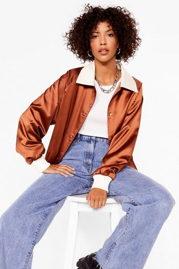 Chocolate You Gotta Let Disco Satin Bomber Jacket