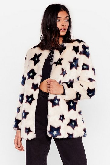 White Star-t Me Up Faux Fur Jacket