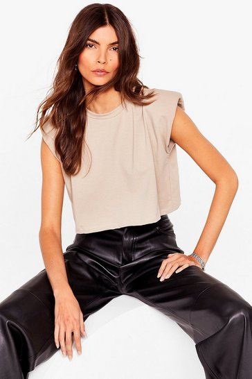 Camel Shoulder Pad About It Cropped Tank Top