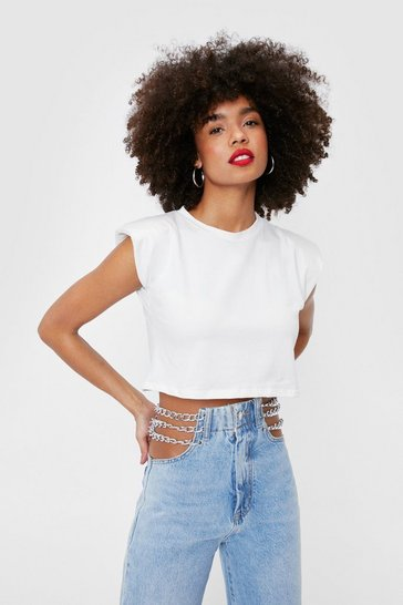 Cream Shoulder Pad Cropped Vest Top
