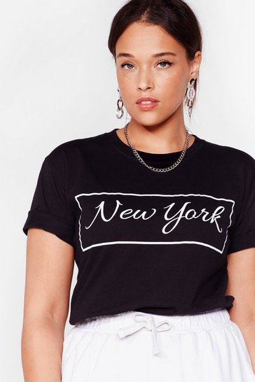 Black Good Morning New York Plus Graphic Tee