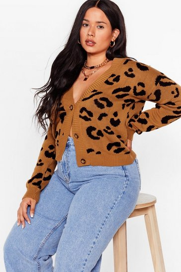 Sand Plus Size V Neck Leopard Cardigan