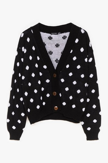 Black Some Like It Spot Knit Cardigan