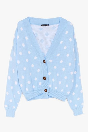 Blue Some Like It Spot Knit Cardigan