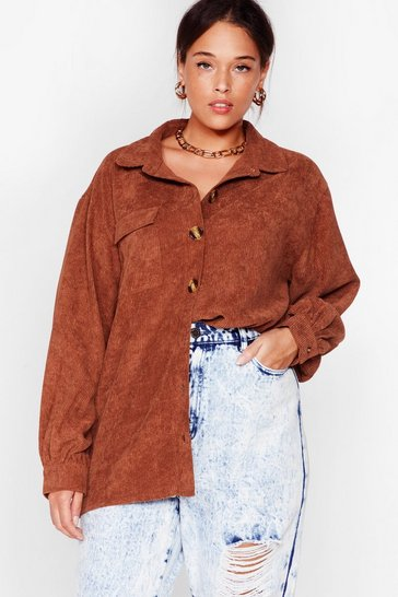 Chocolate Big Cord and Beautiful Plus Oversized Shirt