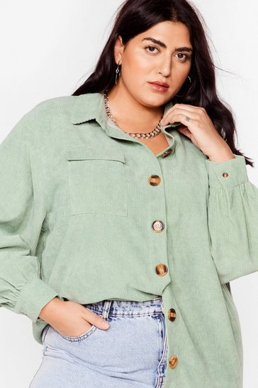 Sage Big Cord And Beautiful Plus Oversized Shirt