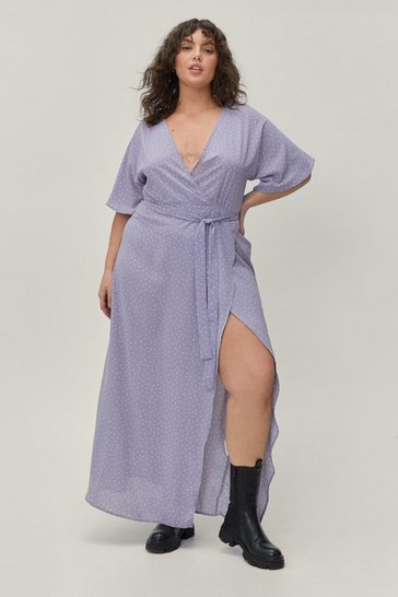 Mauve Plus Size Micro Spot Split Hem Maxi Wrap Dress
