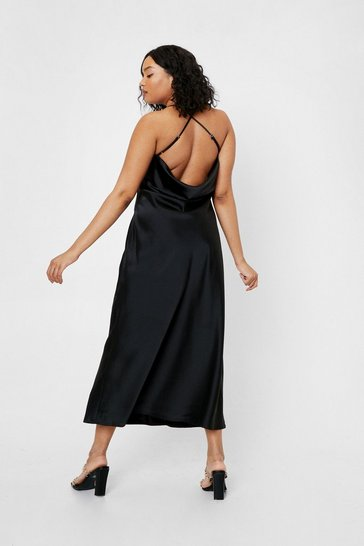 Black Plus Size Cowl Back Satin Maxi Dress