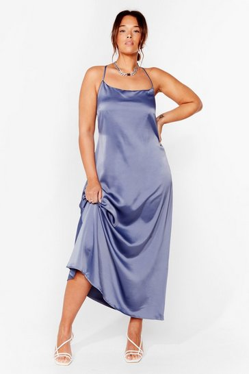 Blue Cowl Back Later Plus Maxi Dress