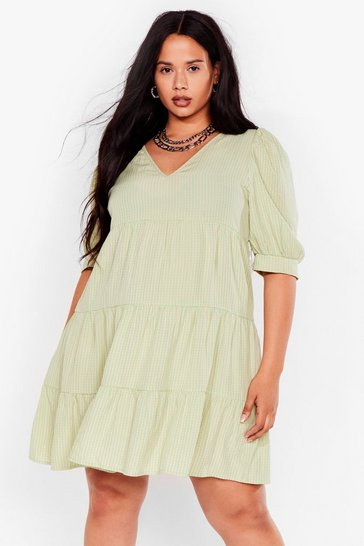 Grande taille - Robe babydoll à carreaux, Green