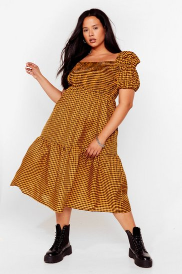 Yellow Plus Size Puff Sleeve Check Midi Smock Dress