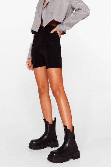 Black Back to Work Chunky Chelsea Boots