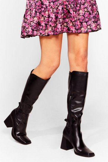 Black Flared Block Heel Knee High Boots