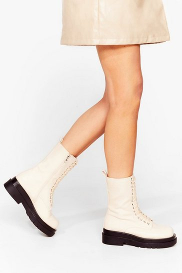 Off white Ground Rules Faux Leather Biker Boots
