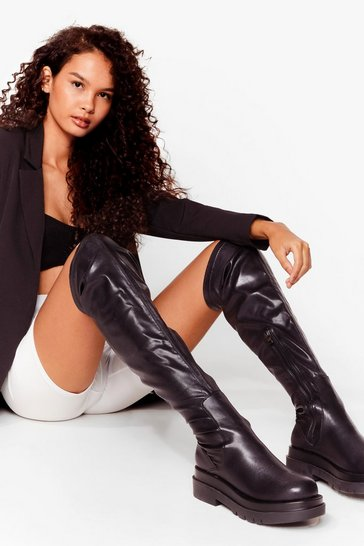 Black Faux Leather Cleated Over The Knee Boots