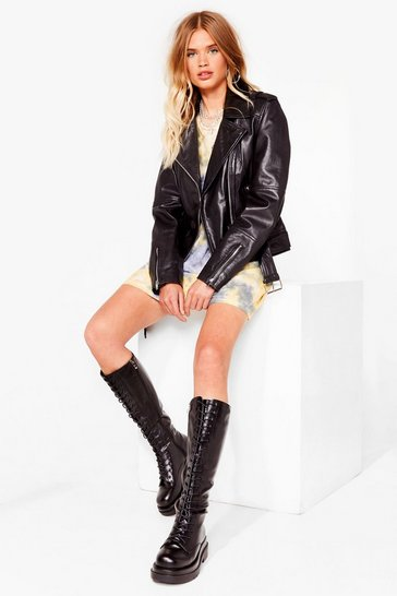 Black Stomping Ground Knee High Biker Boots