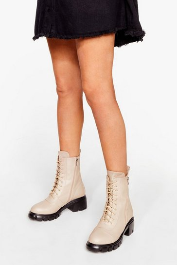 Beige Zip the Small Talk Lace-Up Biker Boots