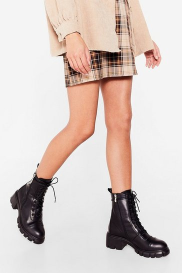 Black Faux Leather Zip Biker Boots