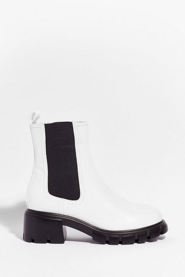 White Faux Leather Cleated Chelsea Boots