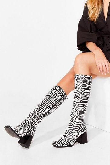 White Zebra Block Heel Knee High Boots