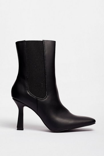 Black BOX PU square point toe chelsea boots