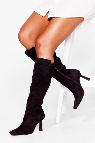 Black Faux Suede Knee High Stiletto Heel Boots