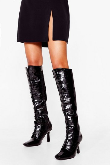 Black A Little Tied Up Croc Knee High Boots