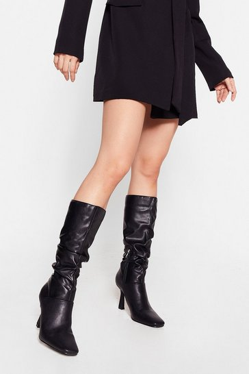 Black Heelin' the Love Slouchy Knee High Boots
