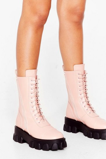 Pink On Your Feet Cleated Faux Leather Boots