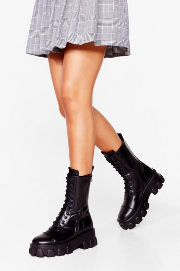 Black Calf High Lace Up Biker Boot