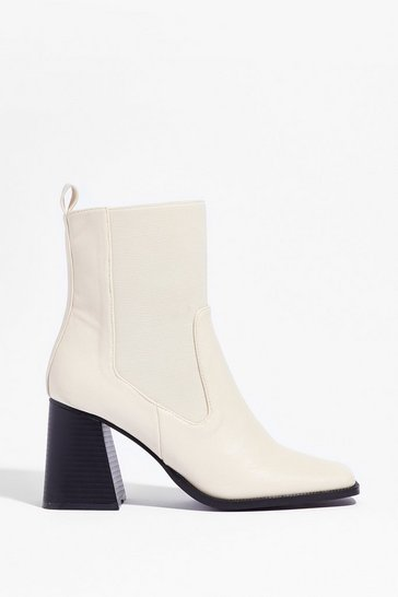 Off white Couldn't Flare Less Faux Leather Heeled Boots
