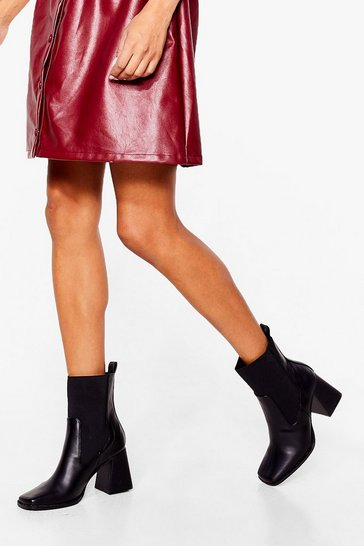 Black Couldn't Flare Less Faux Leather Heeled Boots