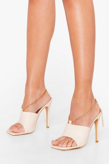 Beige Total Croc Out Asymmetric Heeled Mules