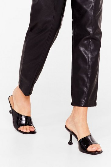 Black Total Croc Out Asymmetric Heeled Mules