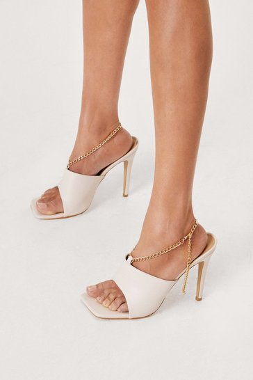 Beige Faux Leather Open Toe Stiletto Mules
