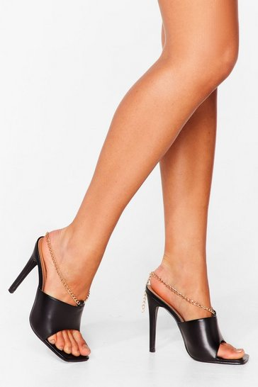 Black Faux Leather Chain Strap Stiletto Mules