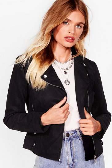 Black Ride On Faux Suede Moto Jacket