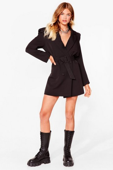 Black Shoulder 'Em Who's Boss Belted Longline Blazer