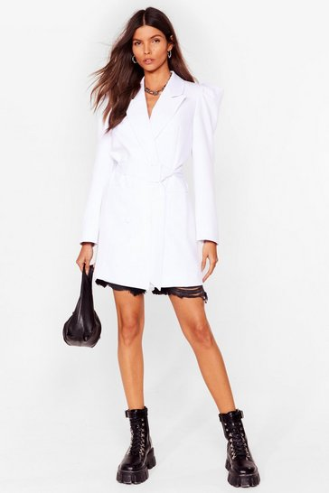 White Shoulder 'Em Who's Boss Belted Longline Blazer