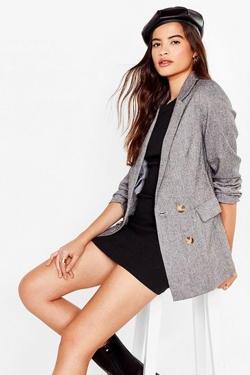 Grey Faux Wool You Be Mine Double Breasted Blazer