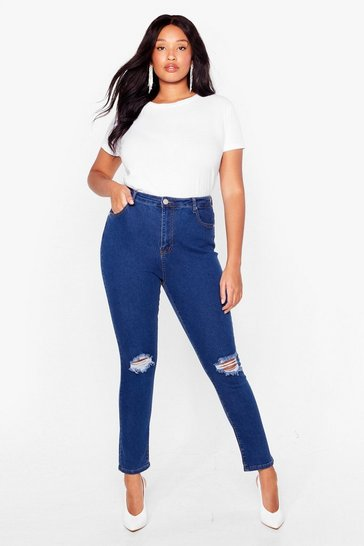 Mid blue Rip's About Time Distressed Skinny Jeans