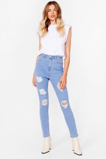 Light blue Rip Into 'Em Distressed Skinny Jeans