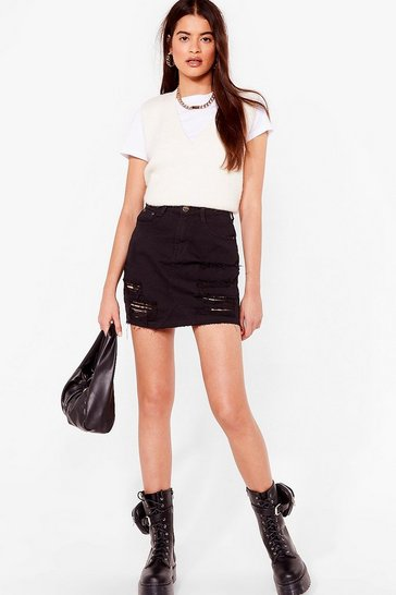 Black Listen to What We Shred Distressed Mini Skirt