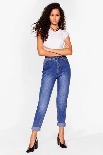 Blue High Rise Mid Wash Mom Jeans