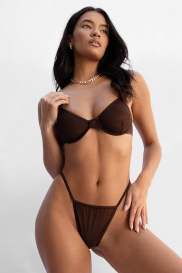 Chocolate You Mesh Believe Underwire Bra + Thong Set
